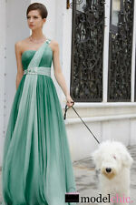 Teal One Shoulder Jewelled Chiffon Evening Prom Bridesmaid Ball Gown Maxi Dress