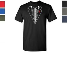 Funny T-Shirt Tuxedo Wedding Groom Tie Shirt Prom Tee S-2XL GameOver 100% Cotton