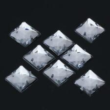 50X Acrylic Clear Faceted Rhinestones Beads Triangle / Square Flat Back Sew on