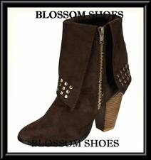 WOMEN SHOES BROWN FAUX SUEDE STUDDED ANKLE BOOTS HIGH HEELS Sz AU 5.5 -10