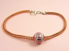 ~Custom Made~HEART Clasp KNITTED Chain BRACELET fit European Charm ~BONUS CHARM~