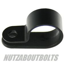 Black plastic/nylon p clips for mounting cables/wires/tubes ect. pick size/qty