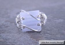 Sterling Silver Wire Wrapped Blue Lace Agate Square Cabochon Ring
