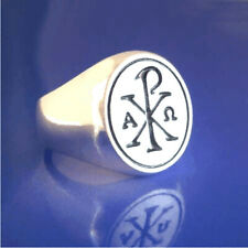 Chi Rho Alpha Omega Signet Ring - Sterling Silver - Size 8  to 13  (#57)