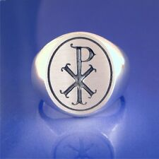 Chi Rho Ring - Old Fancy Style - Solid Sterling Silver - Size 8 to 13   (#58)
