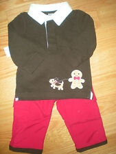 Gymboree NWT Baby Boy Gingerbread Rugby and Fleece lined pant outfit