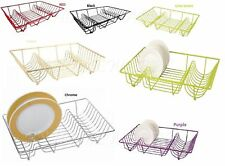 Large Dish Drainer Metal Wire Cutlery Draining Holder Kitchen Sink Rack Tidy New