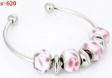 new lampwork glass&silver plated European beaded charm bangle bracelet S-620-626