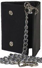 Men's Tri-fold Genuine Cowhide Leather Wallet with Chain #4654-C