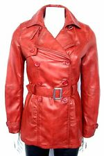 DIANA GIRLS,LADIES ,CELEBRITY,FASHION DESIGNER RED ITALIAN LEATHER TRENCH COAT