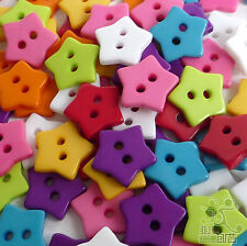 White/Blue/Purple/Pink/Red/Green/Yellow Plastic star Shape Buttons Ø15mm 2 holes