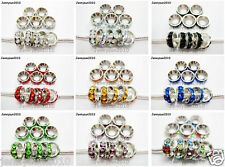 Big Hole Crystal Rhinestone Silver Rondelle Spacer Beads 10mm Fit European Charm