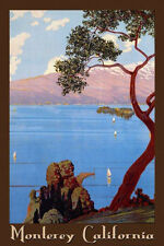 Monterey Bay California Ocean Sea Sailboat Tourism Vintage Poster Repro FREE S/H