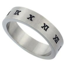 Unisex Stainless Steel Flat Wedding Band Ring, Roman Numerals, Sizes 7 to 14
