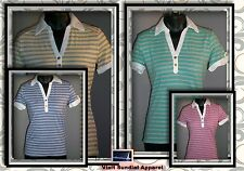 Tommy Hilfiger Women shirt Polo Gold Buttons!! Stripes Blue Green Yellow Red NWT