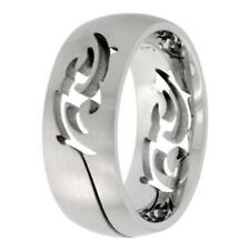 Stainless Steel 9mm Comfort Fit Wedding Band Ring, Tribal Cut Out, Size 7-14