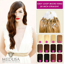 "Medusa Easy Loop Micro Ring Remy Human Hair Extensions 20"" 0.8g 0.5g Straight"
