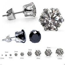 925 STERLING SILVER CLEAR & BLACK CUBIC ZIRCONIA CZ CRYSTAL ROUND STUD EARRINGS.