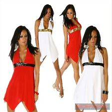 NEW WOMENS SIZE 10-12 LADIES MINI COCKTAIL HALTER NECK PARTY CLUB WEAR DRESS