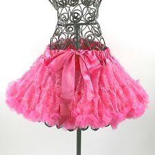 Girls Lace Chiffon Satin Pettiskirts Dance Ballet Party Dress Up Hot Pink 2T-6T