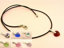925 Sterling Silver BAIL Swarovski Crystal HEART Birthstone w/ Leather NECKLACE