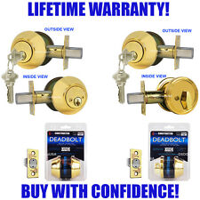 Constructor Deadbolt Door Lockset Polished Brass Single Double Cylinder Lock Set