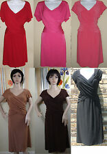 NWT B-SLIM jersey short sleeve black/coral/red built in shape dress,PL,S,2X,3X