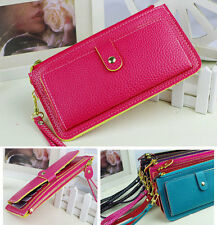 Soft PU Leather Women Card Zip Wallet Purse Handbag Clutch 10 Colors P064