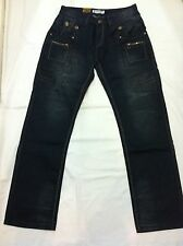 New Mens Fashion Straight Leg Light Wax Washed Jeans Blue