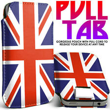 UK Union Jack Flag Pull Tab PU Leather Case Cover Pouch Slide In Sleeve