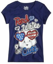 NWT Justice Girls Red White & CUTE Lulu Puppy Graphic Tee Top U Pick Size! NEW