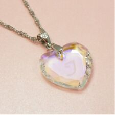 925 STERLING SILVER Stamped CHAIN w/Genuine SWAROVSKI Crystal HEART NECKLACE