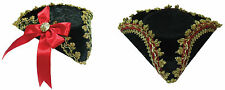 #TRICORN MINI HAT RED BOW OR GOLD EDGE PIRATE FANCY DRESS ADULT