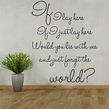 SNOW PATROL If i lay here WALL QUOTE STICKER - Song, love, romance, bedroom WQ35