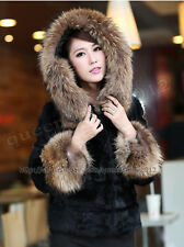 100% Real Genuine Rex Rabbit Fur Super Raccoon Collar Coat Jacket Fashion Hoody