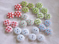20 White Wood Buttons with Polka Dot / Gingham Designs - FREE P & P