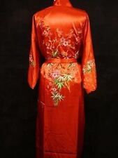 Silk Japanese Chinese Kimono Dressing Gown Bath Robe  Red colour