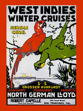 West Indies Cruises Parrot Birds Panama Canal Travel Vintage Poster Repo FREE SH