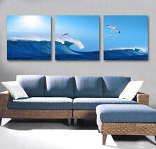 Wave & Seagulls flying wall Decorative Canvas Print Set High quality Framed