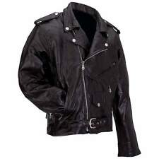 New Mens Diamond Plate Genuine Buffalo Black Leather Motorcycle Biker Jacket