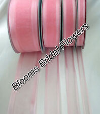 25 Yd Roll of  Bay Pink Satin Edge Organza Ribbon 10mm, 15mm, 25mm and 38mm