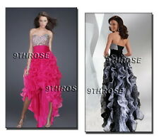 TRENDY HIGH-LOW HEM! FANCY BEADED PROM/FORMAL/EVENING GOWN WITH FRILL SKIRT