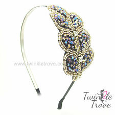 Lobed Leaf Crystal Diamante Studded Hair Alice Head Band Fascinator. Party Prom