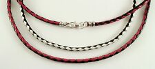 """3mm Braided Sterling Silver Leather Bolo Necklace black red white 15 - 30"""""""
