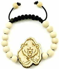 Bear Bracelet New Good Wood Style Pull Cords Adjustable Macrame 10mm Beads