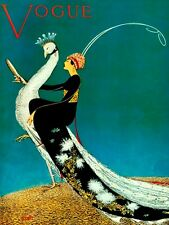 VOGUE Peacock Lady with White Peacock Fine Vintage Poster Reproduction FREE S/H
