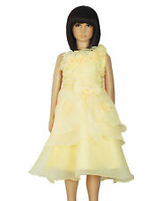 New Flower Girl Party Bridesmaid Pageant Dress Yellow,Hot Pink,Pink,White 9M-7Y