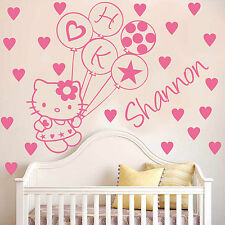 HELLO KITTY BALLOON wall sticker and personalised name and hearts ,diamante HK15