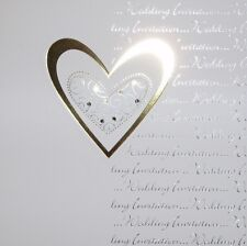 Pack of 5 Luxury Wedding/Evening Invitations & Thank You Cards with Gold Heart