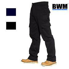 Mens Cargo Combat Work Trousers Size 28 to 52 Black or Navy Short , Reg , Long